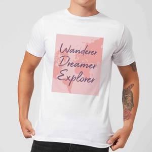 Wander Dreamer Explorer With Map Background Men's T-Shirt - White