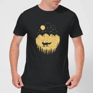 Moonlight Fox Adventure Men's T-Shirt - Black