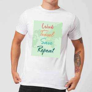 Work Travel Save Repeat Background Men's T-Shirt - White