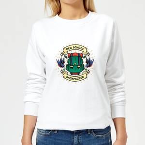 Vintage Old School Backpacker Women's Sweatshirt - White