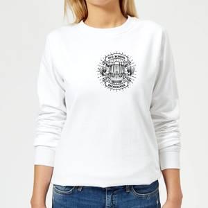 Vintage Old School Backpacker Pocket Print Women's Sweatshirt - White