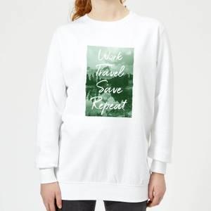 Work Travel Save Repeat Forest Photo Women's Sweatshirt - White