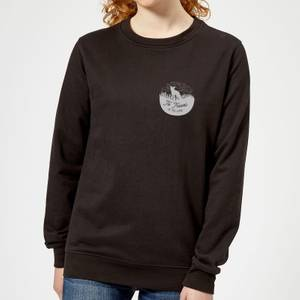 To Travel Is To Live Pocket Print Women's Sweatshirt - Black