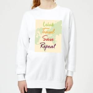 Work Travel Save Repeat Map Background Women's Sweatshirt - White