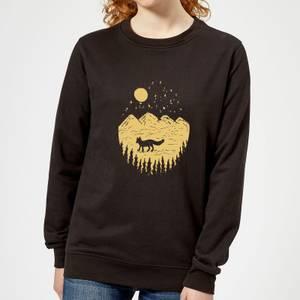Moonlight Fox Adventure Women's Sweatshirt - Black