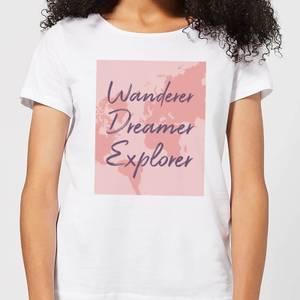 Wander Dreamer Explorer With Map Background Women's T-Shirt - White