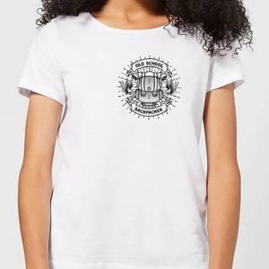 Vintage Old School Backpacker Pocket Print Women's T-Shirt - White