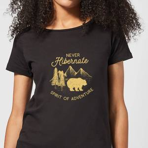 Never Hibernate Spirit Of Adventure Women's T-Shirt - Black
