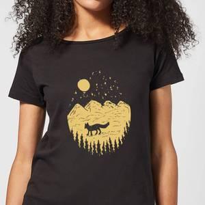 Moonlight Fox Adventure Women's T-Shirt - Black