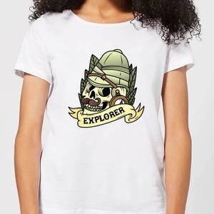 Explorer Skull Women's T-Shirt - White
