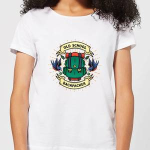 Vintage Old School Backpacker Women's T-Shirt - White