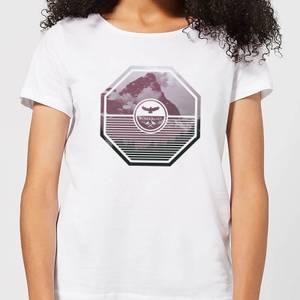 Octagon Mountain Photo Graphic Women's T-Shirt - White