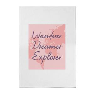 Wander Dreamer Explorer With Map Background Cotton Tea Towel