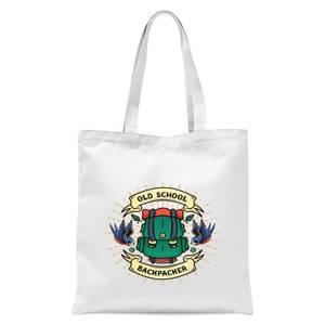 Vintage Old School Backpacker Tote Bag - White