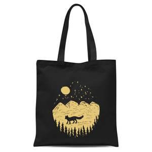 Moonlight Fox Adventure Tote Bag - Black