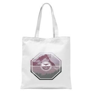 Octagon Mountain Photo Graphic Tote Bag - White