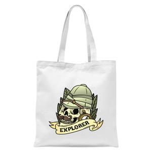 Explorer Skull Tote Bag - White