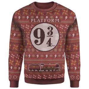Harry Potter Platform 9 3/4 Christmas Knitted Jumper - Burgundy