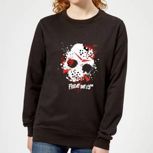 Friday the 13th Mask Splatter Women's Sweatshirt - Black