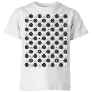 Monochrome Checkers Pattern Kids' T-Shirt - White