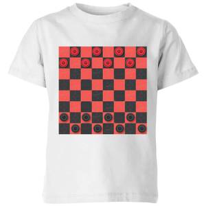 Red Checkers Board Kids' T-Shirt - White