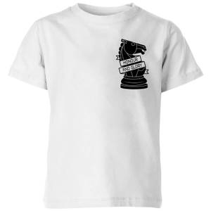 Knight Chess Piece Honour And Glory Pocket Print Kids' T-Shirt - White
