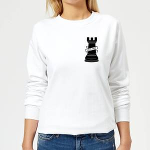 Rook Chess Piece Hold Fast Pocket Print Women's Sweatshirt - White