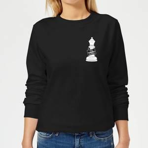 Yas Queen White Pocket Print Women's Sweatshirt - Black