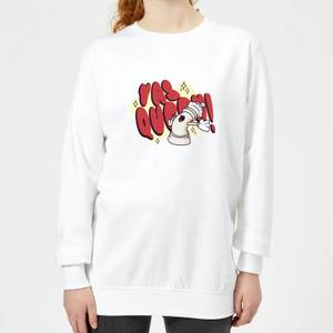 Yas Queen! Cartoon Women's Sweatshirt - White