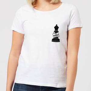 Queen Chess Piece Yas Queen Pocket Print Women's T-Shirt - White