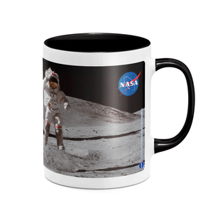 NASA Moon And Flag Mug - White/Black