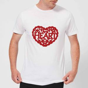 Red Cut Out Heart Text Men's T-Shirt - White