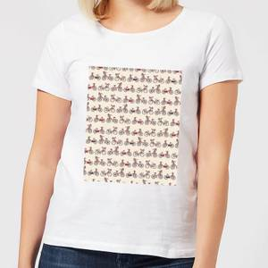 Bicycle Pattern Textured Background Women's T-Shirt - White