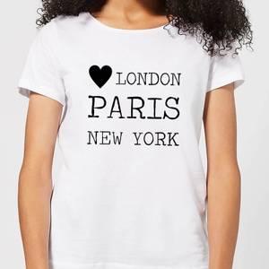 Love Heart London Paris New York Women's T-Shirt - White