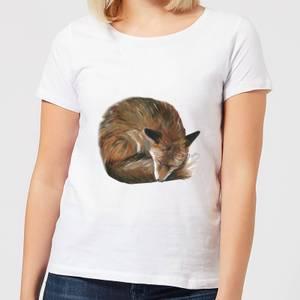 Curled Up Fox Women's T-Shirt - White