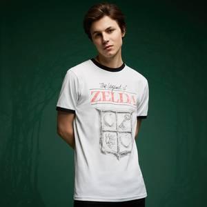 Legend Of Zelda Retro Logo T-Shirt - White / Black Ringer