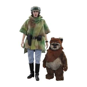 Lot de 2 figurines articulées MM Princesse Leia et Wicket, Star Wars Episode VI, échelle 1:6 (15 et 27 cm) – Hot Toys