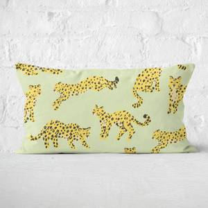 Light Green Cheetah Print Rectangular Cushion