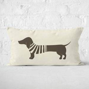 Stripey Jumper Sausage Dog Rectangular Cushion