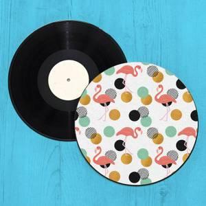 Flamingo Polka Dots Record Player Slip Mat