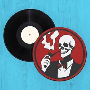 Gentleman Smoking Skull Record Player Slip Mat
