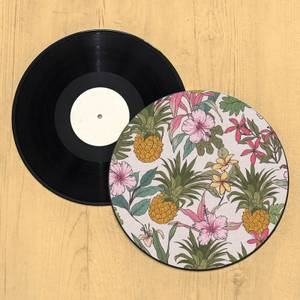 Tropical Floral Pineapple Record Player Slip Mat