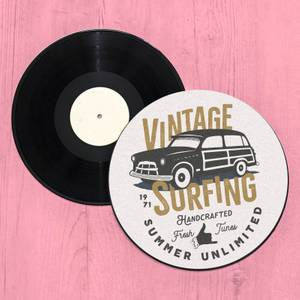 Vintage Surfing Handcrafted Fresh Tunes Record Player Slip Mat