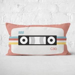 Coral Cassette Tape Rectangular Cushion