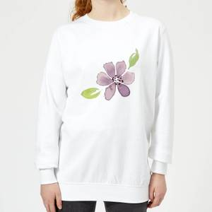 Purple Flower 2 Women's Sweatshirt - White