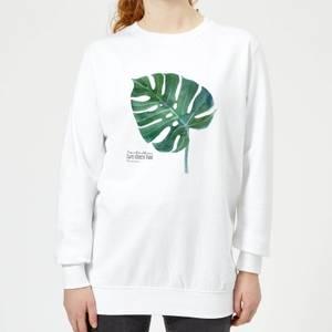 Swiss Cheese Plant Leaf Women's Sweatshirt - White