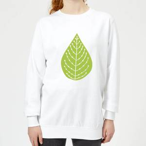 Plain Green Spotted Leaf Women's Sweatshirt - White