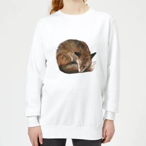 Curled Up Fox Women's Sweatshirt - White