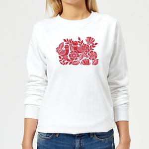 Folk Bird Graphic Women's Sweatshirt - White