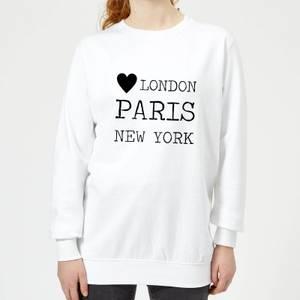 Love Heart London Paris New York Women's Sweatshirt - White